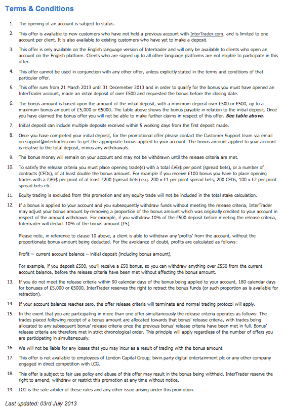 Intertrader terms and conditions