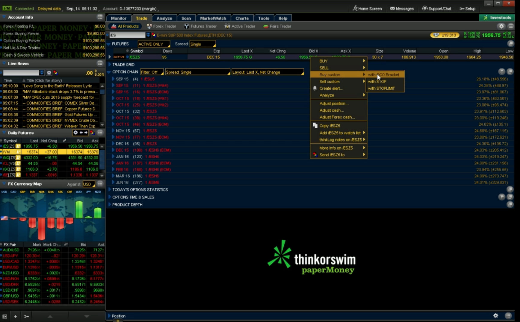 How to Place OCO Orders on the ThinkorSwim Platform